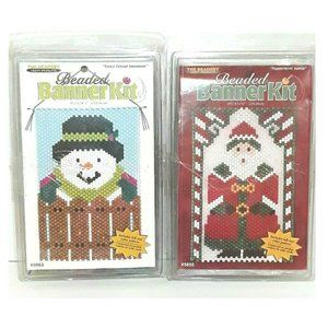 Beaded Banner Kits Snowman And Santa
